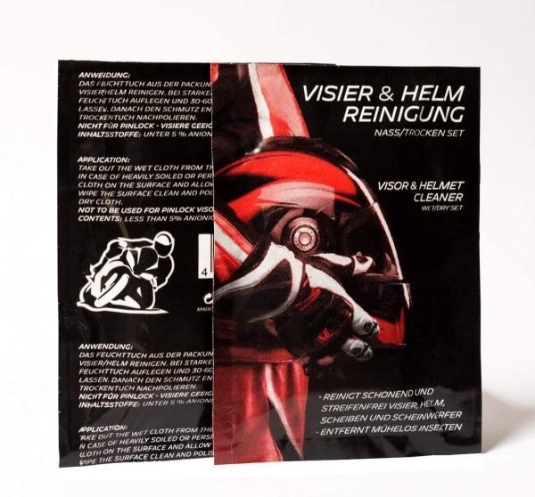 Visierreinigungstuch, Visier und Helm Reiniger, feucht - trocken Set, 2 in1