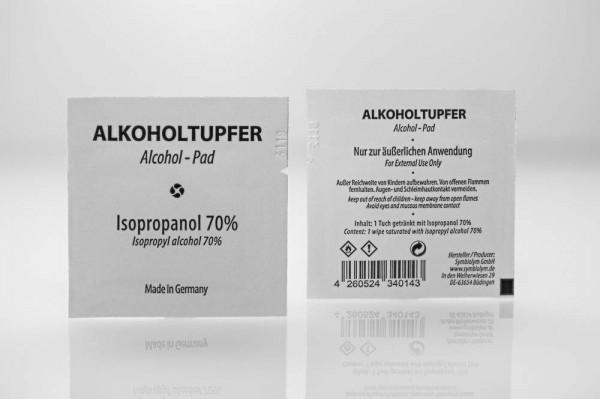 Alkoholtupfer mit Isopropanol 70%, 30x50mm, lose im Karton